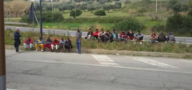 Amendolara, migranti in protesta (foto Ansa)