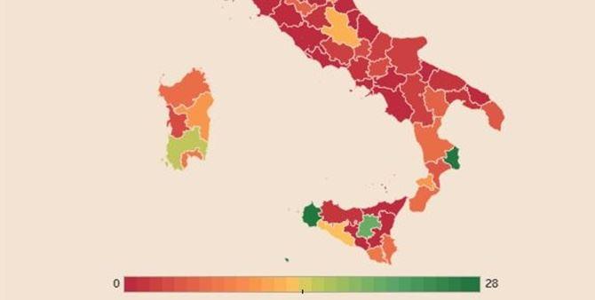 La mappa elaborata da Il Sole24ore