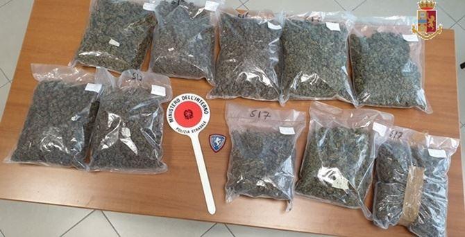 La droga trovata in auto dai poliziotti
