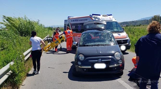 La Fiat 500 coinvolta nell'incidente
