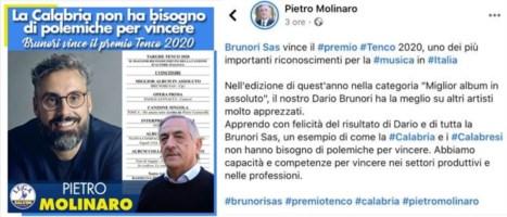 """Il consigliere della Lega """"rivendica"""" la vittoria di Brunori: il web insorge"""