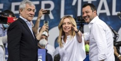 Tajani, Meloni e Salvini (FOTO ANSA)