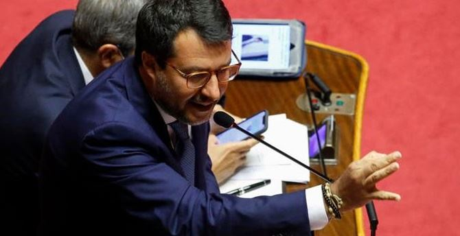 Matteo Salvini in Senato - foto Ansa