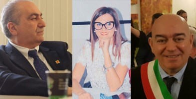 Il sindaco di Frascineto, Catapano, l'assessore Iuele ed il sindaco di Civita, Tocci