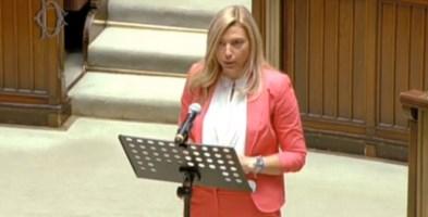 Elena Murelli durante il suo intervento alla Camera