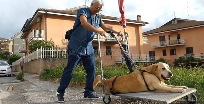 Tonino Vitale con il suo cane
