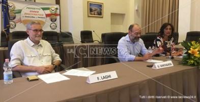 Laghi, Santagada e D'Ingianna durante la presentazione del programma