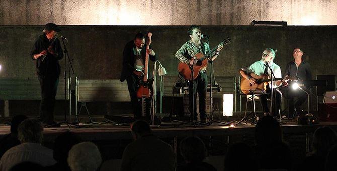 Voltarelli durante il concerto (foto Giuseppe Iazzolino)