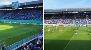 Un frame del video pubblicato sui social dalla Hansa Rostock