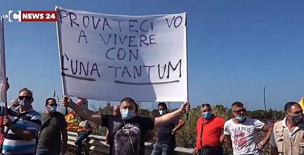 La protesta a Lamezia