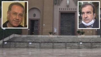 Il sagrato chiuso con le transenne. Nei riquadri il parroco don Dario e il sindaco Mario Occhiuto