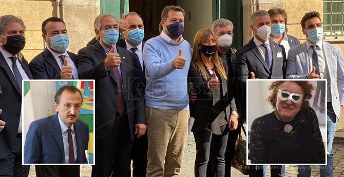 Il recente incontro a Roma dei leghisti calabresi con Salvini. Nei riquadri, Luciano Vigna ed Evelina Catizone