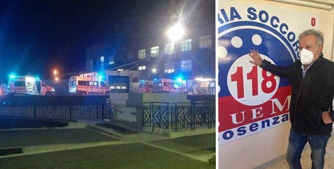 La fila di ambulanze a Cosenza e il responsabile del 118 Riccardo Borselli