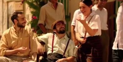 Una scena dello spot di Muccino. Al centro, Roberto Scorza, alla sua sinistra la sorella Elvira, anche lei attrice