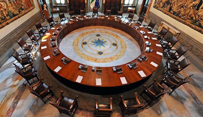 La sala del consiglio dei ministri, foto governo.it