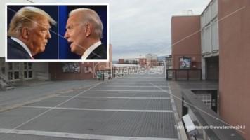 Il ponte Bucci dell'Unical e, nel riquadro, i candidati alla Casa Bianca