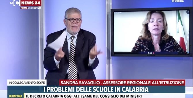 L'assessore Savaglio in trasmissione ieri con il direttore Pasquale Motta