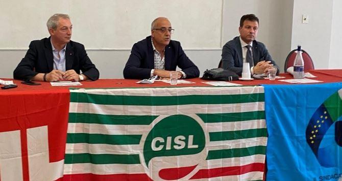 I segretari generali di Cgil, Cisl e Uil Calabria Sposato, Russo e Biondo