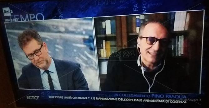 Pino Pasqua in collegamento Skype con lo studio di Che Tempo che fa