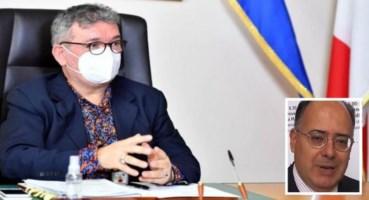 Il presidente ff Spirlì e nel riquadro il neocommissario Gaudio