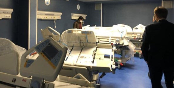 I letti trasferiti nel reparto di Terapia Intensiva. Fonte foto: profilo Facebook di Graziano Di Natale