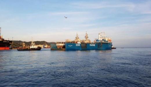 Navi bloccate in Cina, foto ansa