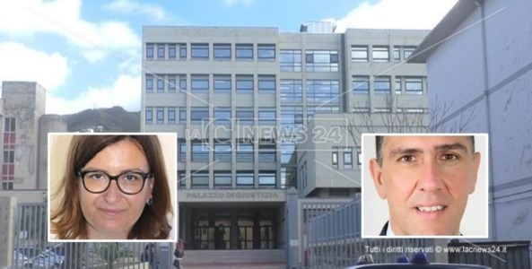 Il tribunale di Paola e, nei riquadri, Francesca Amoroso e Mario Russo