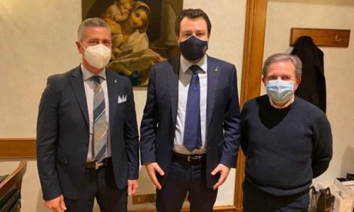 Da sinistra a destra: Roy Biasi, Matteo Salvini e Giacomo Francesco Saccomanno