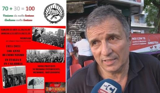 La locandina dell'evento e, a sinistra, Pino Scarpelli, segretario regionale di Rifondazione Comunista della Calabria