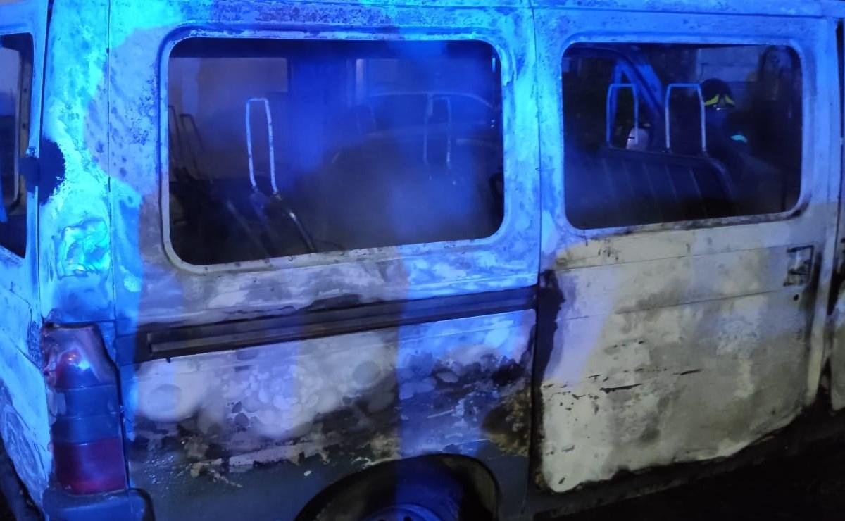 Il mezzo colpito nella notte