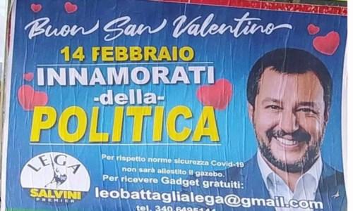 """L'ultima trovata trash del """"graffitaro"""" dei viadotti: Battaglia festeggia San Valentino con Salvini"""