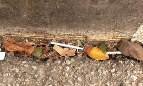 Cosenza, andare a scuola in via Livatino fa paura: siringhe, voragini e spazzatura