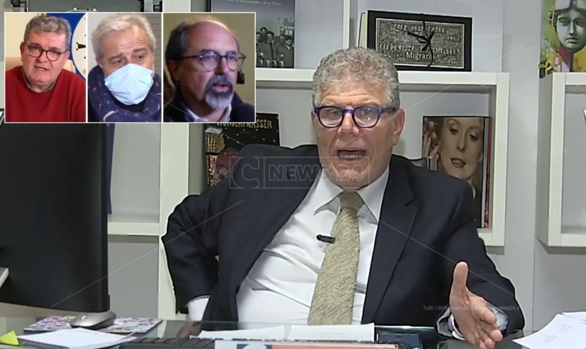 Il direttore Motta, nei due riquadri il commissario Longo e il presidente ff Spirlì