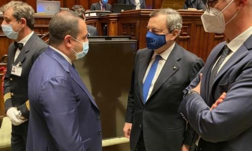 L'onorevole Francesco Cannizzaro e il premier Mario Draghi
