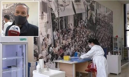 La sala dove vengono somministrati i vaccini e nel riquadro Salvatore Borruto