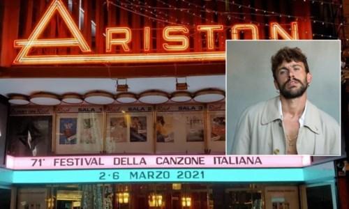 L'Ariston di Sanremo e, nel riquadro, Aiello