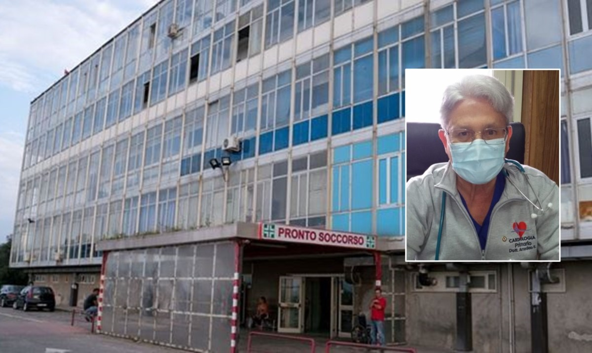 L'ospedale di Polistena e, nel riquadro, il dottor Amodeo