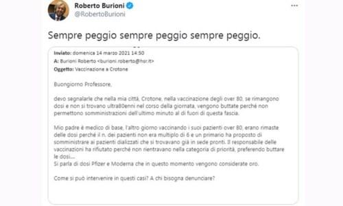 Il tweet di Roberto Burioni