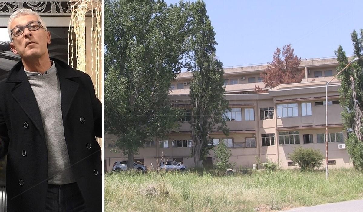A sinistra il senatore Nicola Morra. A destra la sede Asp di Serra Spiga