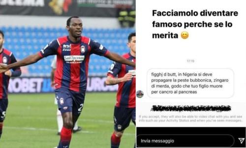 Crotone Calcio, insulti choc all'attaccante Simy: «Godo se tuo figlio muore»