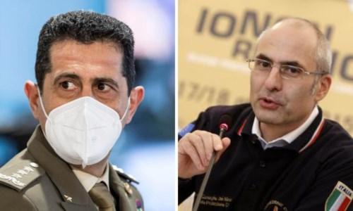 Il commissario Francesco Figliuolo e il capo della ProtCiv Fabrizio Curcio