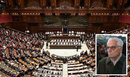 Il parlamentare Frasca (foto Wikipedia) e sullo sfondo il Senato (foto senato.it)