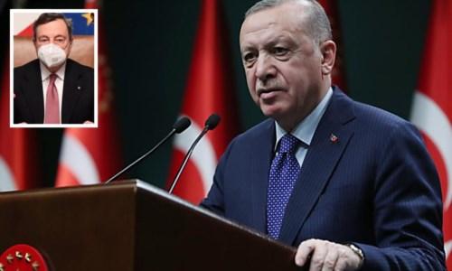 Il presidente turco Erdogan e il premier Draghi