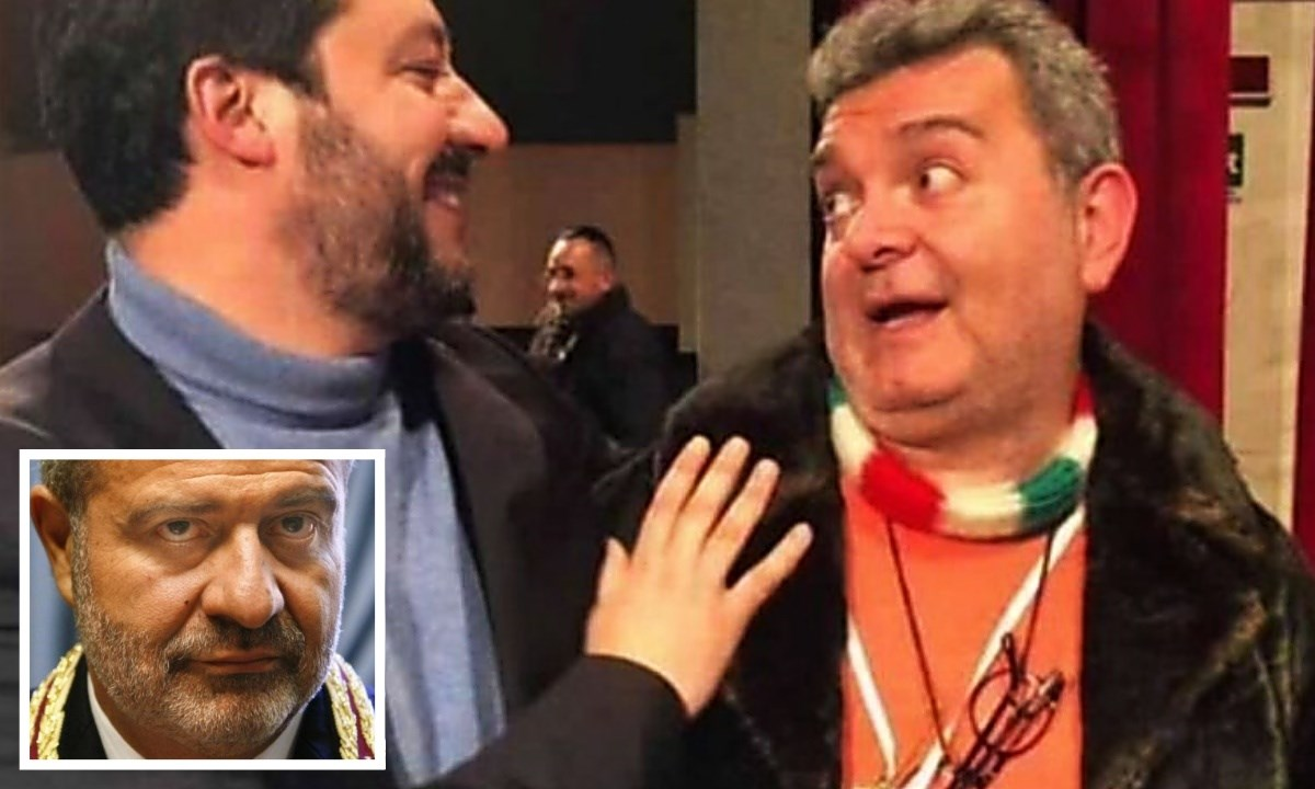 Matteo Salvini e il presidente ff Nino Spirlì. Nel riquadro il commissario Guido Longo