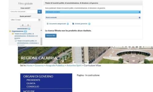 Regione, «Sezione amministrazione trasparente 'vuota' e dati della Giunta secretati»