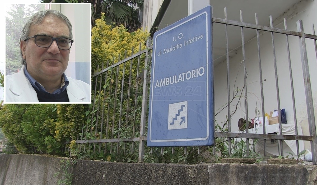 L'ambulatorio di malattie infettive di Cosenza e, nel riquadro, il primario Antonio Mastroianni