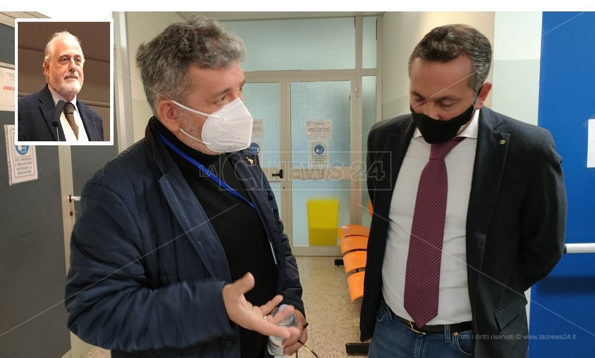 Il commissario Giuliano con il presidente ff Spirlì. Nel riquadro il rettore De Sarro
