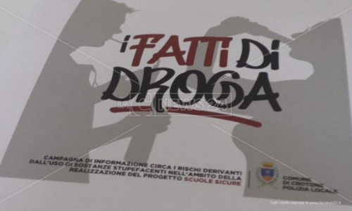 Crotone, dal Comune una campagna di sensibilizzazione contro l'uso delle droghe