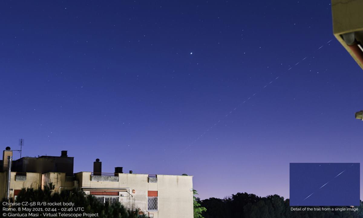 Il razzo Lunga Marcia 5B fotografato da Roma (fonte: Gianluca Masi, The Virtual Telescope Project)