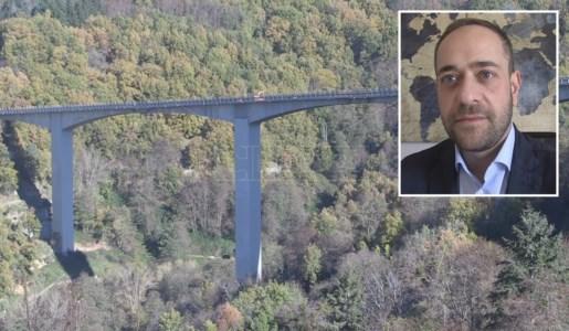 Il viadotto del Cannavino e, nel ritaglio , il sindaco di Spezzano Sila Salvatore Monaco